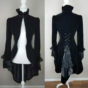 Velvet Victorian Gothic Black Coat Steampunk Goth
